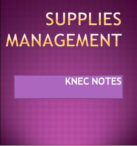 supplie management knec notes